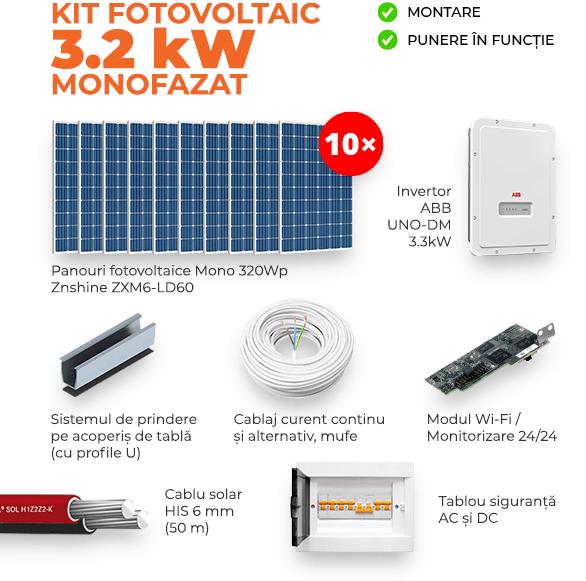 Kit ON-GRID 3.2KW - Monofazat