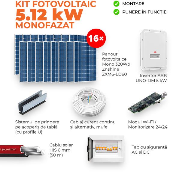 Kit ON-GRID 5.12KW – Monofazat